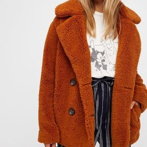 Free People Notched Teddy Fur Peacoat